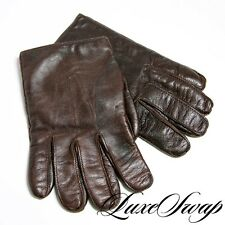 Coach Made in Italy Kid Leather Brown Cashmere Lined Winter Gloves XL NR WOW