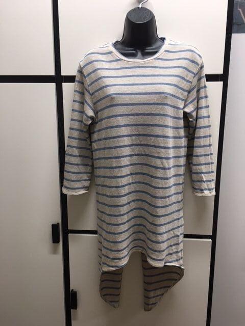 Kapital Japan S Linen Blau Steel Stripe Crew Neck Swallow Tail Top