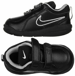 07d125edf90 Nike Pico 4 Toddler Infants Boys Black Leather Trainers Shoes New ...