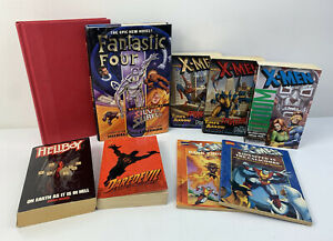 Lot Of 9 Vintage Marvel Books Novels - X-men, Daredevil, Hellboy, Fantastic Four