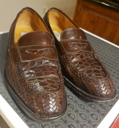 Mezlan SZ 9 Ibiza Brown Woven Leather Loafer Stack