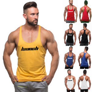 4a3ef64421768 Image is loading Men-LAUNCH-Gym-Bodybuilding-Muscle-Stringer-Casual-Y-