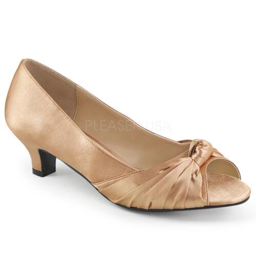 Pleaser FAB-422 Womens Blush Satin Kitten Heel Peep Toe Slip On Pump Shoe Sandal