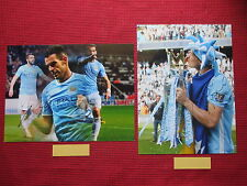 SALE MANCHESTER CITY EDIN DZEKO & ALVARO NEGREDO HAND SIGNED PHOTOS 12x16- 2COAs