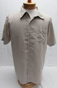 Prana-men-039-s-size-XL-Short-sleeve-button-front-shirt-tan-white-stripe