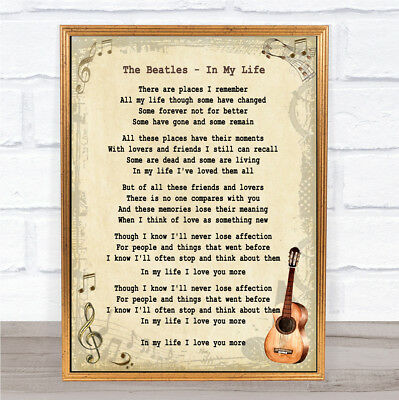 In My Life Song Lyric Vintage Quote Print | eBay