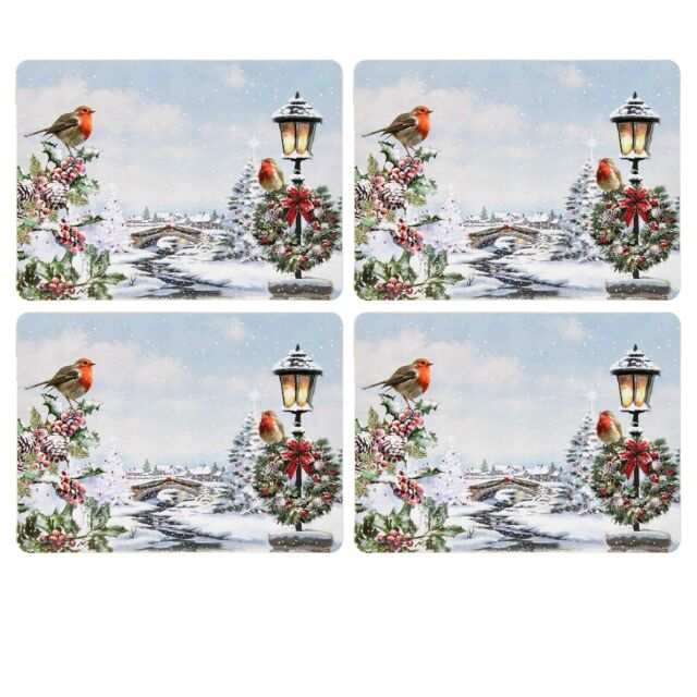 Set Of 4 Placemats /& 4 Coasters Winter Christmas Robin Dining Boxed by Leonardo