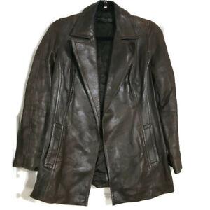 Donna-Karan-New-York-Black-Label-Womens-Brown-Leather-Lambskin-Coat-Jacket-4-S