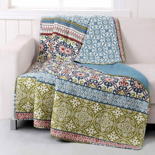 "Nice Quilt Throw Blanket 50/"" x 60/"" 100/% Cotton Hypoallergenic Colorful Moroccan"