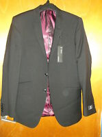 "M&S Autograph Pure Wool Tailored Fit Blazer Suit Jacket Ch 38"" Long Black BNWT"