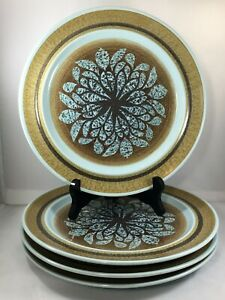 Lot-of-4-Franciscan-Earthernware-Nut-Tree-Dinner-Plates-10-3-8-034-Made-in-USA