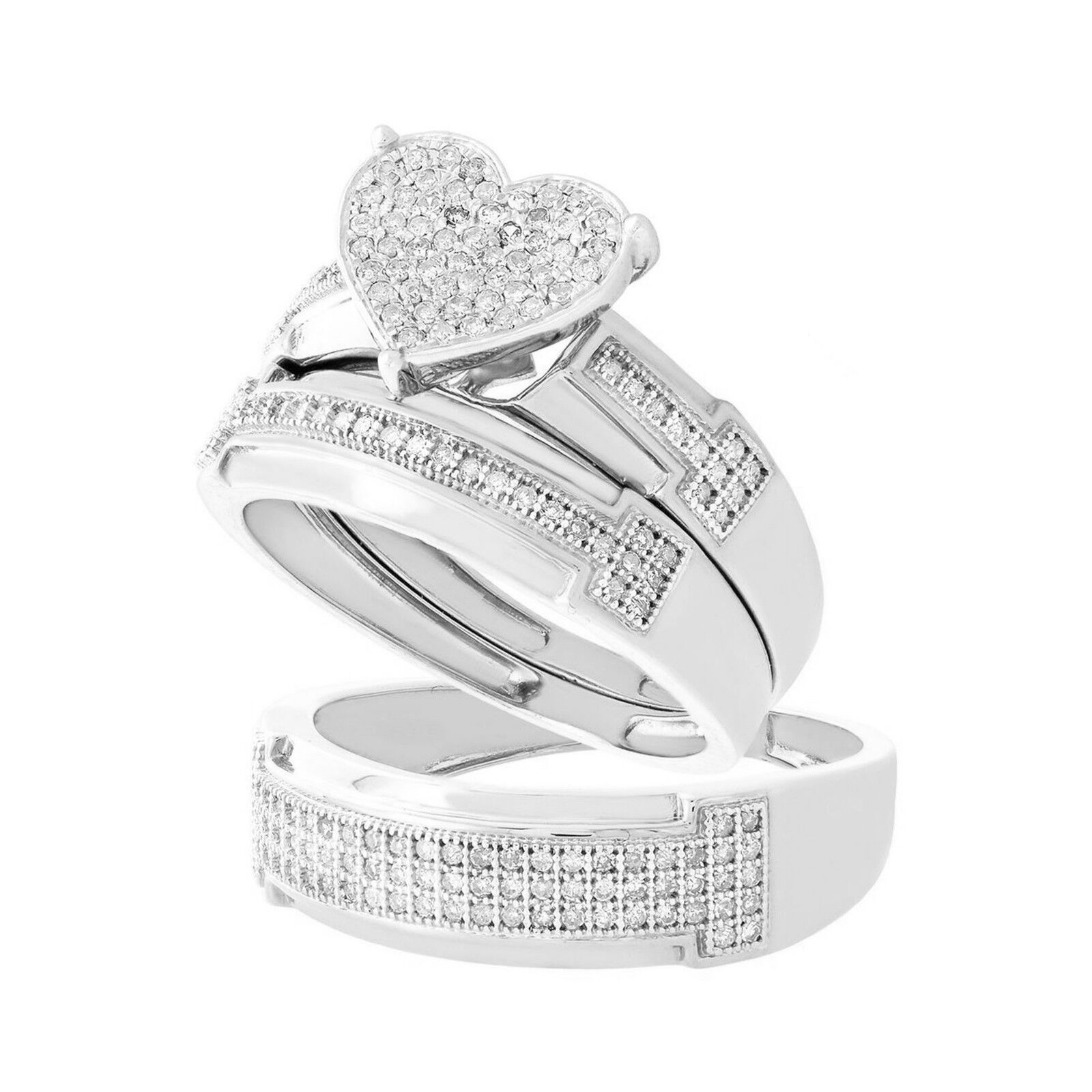 His & Her Heart Diamond Engagement Wedding Trio Ring Set 14Carat White gold Over
