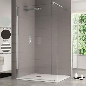 Parete fissa Walk In bagno cabina box doccia vetro temperato 10 mm ...