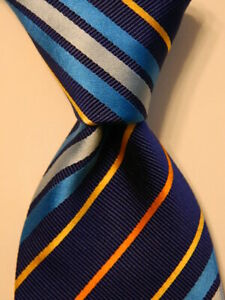 ETON-Men-039-s-100-Silk-Necktie-ITALY-Luxury-STRIPED-Blue-Orange-Yellow-EUC-Rare