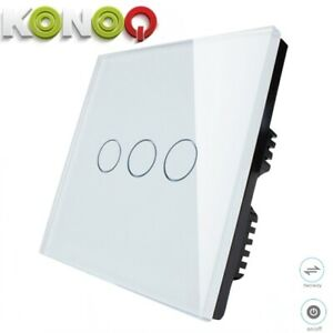 Konoq Luxury Glass Panel Touch Led Light Switch White Touch On Off 3gang 2way Ebay