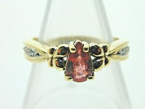 Padparadscha-Colour-Sapphire-Diamond-amp-9-Ct-Gold-Ring-Size-N-3-46-grams-2007