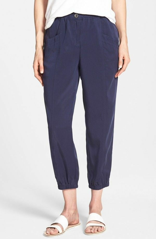 178 BNWT Eileen Fisher Tencel Twill MIDNIGHT Navy Cropped Tapered Leg Pants S