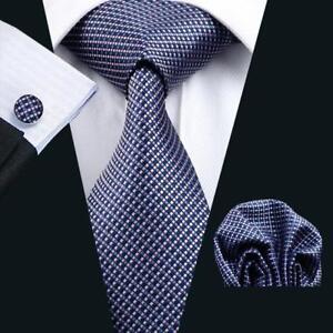 Blue-Pink-Silk-Tie-Plaids-Checks-Mens-Necktie-Set-Hanky-Cufflinks-Wedding-C-660