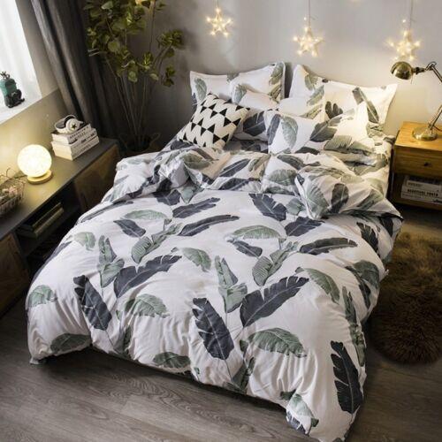 Banana Leaf Printing Bedding Set Duvet Cover+Sheet+Pillow Case Four-Piece New