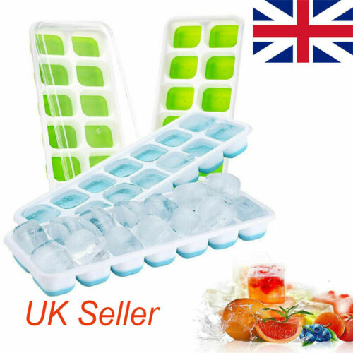 14-Hole Silicone Ice Cube Mold Rectangle-shape Jelly Mold Tray with Lid DIY Tool