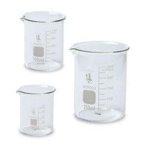 Glass-Beaker-Set-3-Sizes-50-100-and-250ml-Karter-Scientific-214T2