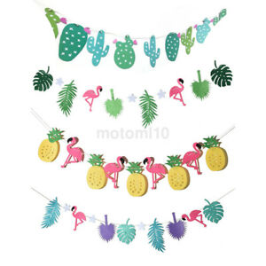 Flamingo-Pineapple-Summer-Party-Leaves-Garland-Bunting-Banner-Home-Birthday-Dec