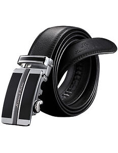 Genuine-KS-Dress-Black-Leather-Mens-Belt-with-Auto-Lock-Buckle-50-inches-for-GBH
