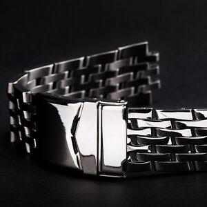 Uhrarmband-Metall-Edelstahl-MASSIV-poliert-20mm-7-Knoten-Anstoss-rund-Blue-Angels