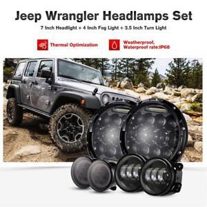 2x-7-034-LED-Headlight-Amber-Signal-Turn-Light-4-034-Fog-Lamp-Kit-For-Jeep-Wrangler-JK
