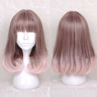 Anime Medium Long Curly Wavy Hair Full Wig Lolita Pink Ombre Brown Cosplay New