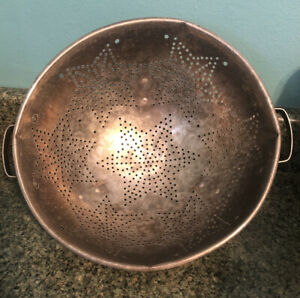 Vintage-Colander-11-034-Aluminum-Footed-Strainer-7-Stars-Handles-Country-Farmhouse