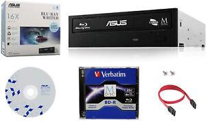 ASUS 16X Blu-ray Burner+FREE 1pk MDisc BD+Software+Cable BW-16D1HT CD DVD Writer