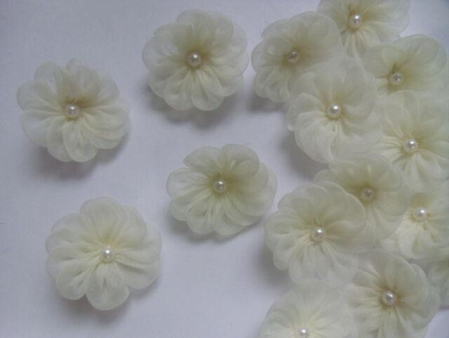 "1.5"" Antique White Organza  Ribbon Flowers w/ Bead -15 Pcs -R0127"