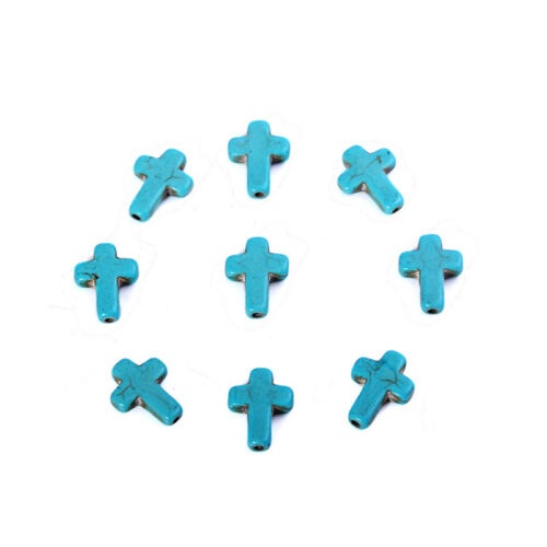 20//40Pcs Mult-Color Stone Cross Loose Spacer Beads Charm DIY Jewelry Findings