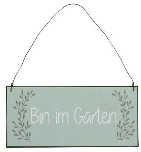 BIN IM GARTEN Schild Hinweis, Türschild, Metallschild, NEU von Ib Laursen Grün