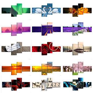 Quadro-moderno-cm-172x74-Stampa-su-tela-4-pezzi-Quadri-Moderni-Astratti-Casa-XXL