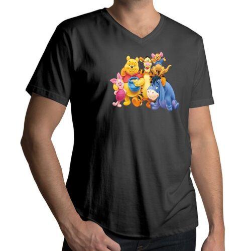 Winnie the Pooh Piglet Tigger Eeyore Roo Disney Mens Unisex V-Neck Tee T-Shirt
