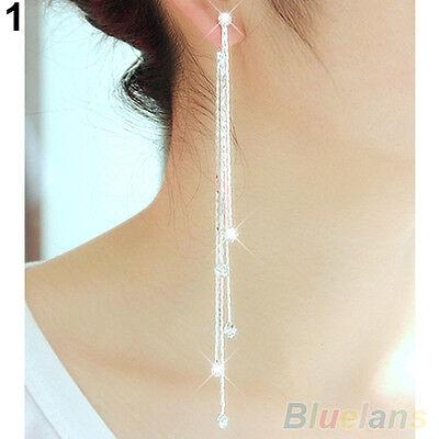 Women Trendy Party Cocktail Dangle Long Tassels Hook Drop Shiny Linear Earrings