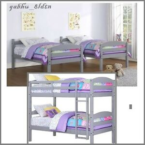 Details About Twin Bed Set Kids Bunk Beds Loft Bunkbed Futon Daybed Convertible Furniture Gray