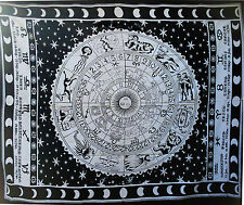 BLACK & WHITE ASTRO ZODIAC SUN MOON STARS WALL ART KING BEDSPREAD THROW tapestry