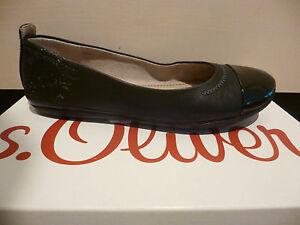 s-Oliver-Bailarina-Zapatilla-Bajo-Zapatos-Tacones-negros-NUEVO