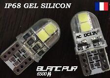 5 x T10 W5W LED 4 SMD 3030 190Lm Blanc Pur 6500K  12V 0,8W FLIP GEL SILICON IP68