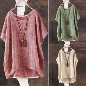 ZANZEA-Women-Summer-Short-Sleeve-Shirt-Tops-Asymmetrical-Loose-Plain-T-Shirt-Tee