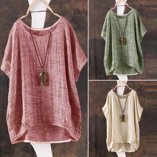 Europe and the United States ladies casual loose linen blouse T-shirt