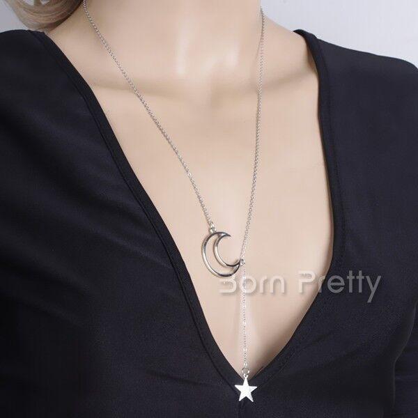 Lune Pendentif mini étoile Collier Romantic Pendant court Necklace Elegant chaîn