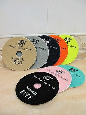 "5"" inch 125mm THK Diamond DRY polishing pads pad disc marble granite Standard AA"