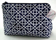 OBJECTS of DESIRE Navy Blue Tile LARGE Cosmetic Makeup Bag NWT Made in the USA
