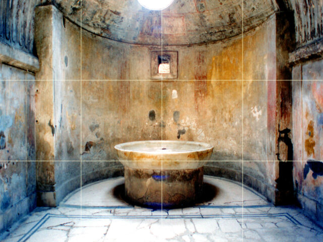 17 x 12.75 Ancient Pompeii Mural Ceramic Bath Backsplash Tile #102