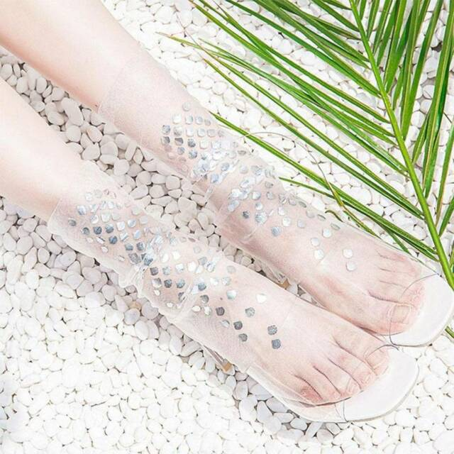 Harajuku Mermaid Elastic Transparent Mesh Lace Sheer Sock Glitter Ankle Hosierys