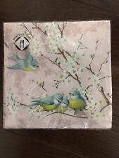 20 Paper Napkins Luncheon Blue Bird Cherry Blossom Pink Germany Mesafina